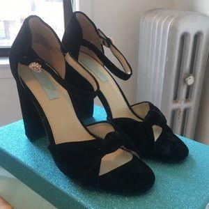 Betsey Johnson Ansly Velvet Ankle-Strap Sandals
